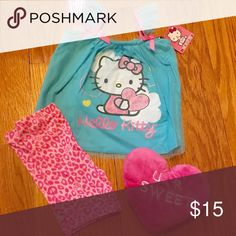 NEW Hello Kitty Bike Short Set for Baby Girl Adorable blue and pink Hello Kitty bike short set for baby girl. Size 12 months. Cotton/polyester. Glitter screen print. Machine wash. New with tags. Hello Kitty Matching Sets