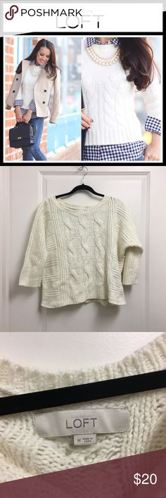 The LOFT white cable knit sweater EUC, no flaws - Woolf blend cable knit sweater from Ann Taylor loft - size medium LOFT Sweaters