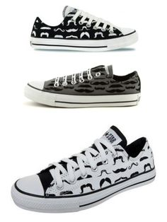 Classic Converse All-Stars-with mustaches!