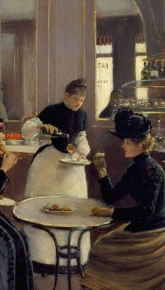 Patisserie Gloppe, Champs Elysees, Paris (Detail)  -   Jean Beraud, 1889  French. 1849-1935  oil on canvas