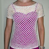 This mesh top looks great thrown over a cami. It is made, top-down, in the round, with raglan shoulders and shaped body. Made small, it will be tight and fitted. Made large, it will be slouchy, off-the-shoulder. After making a circle of loops, the number of loops is increased through rounds to the underarm. Then body is separated from arms and continued in the round.