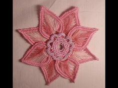 Цветок крючком - Ирландское кружево - Мотивы - flower crochet motif Irish lace - YouTube