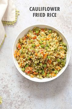 Cauliflower Fried Rice. Easy 1 Pot Fried Rice. No grains, low carb. So fluffy and so good. Vegan Gluten-free Grain-free Nut-free Recipe.