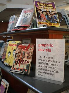 Graphic Novel Display...love the idea of having the definition