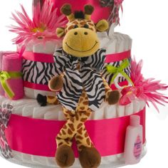 printable pink safari diaper cakes | Pink Safari Giraffe 4 Tier Diaper Cake