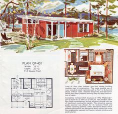 Weekender Cottage by Georgia Pacific, 512 sq. The Plan, How To Plan, Vintage House Plans, Modern House Plans, Sims House Plans, House Floor Plans, Georgia Pacific, Retro Room, Vintage Architecture