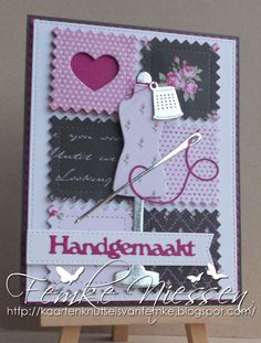 """Made by Femke Niessen: Cards December 2015 stitch series card 2. The sentiment means """"handmade"""" in Dutch."""