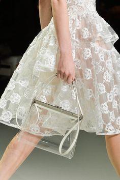 I love Simone Rocha's use of materials #simonerocha #lace #ss14 Transparency, transparent, clear, fashion, designer, catwalk, design, contemporary, modern