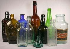 Grouping of Historic Bottles dating between 1840 and 1940.