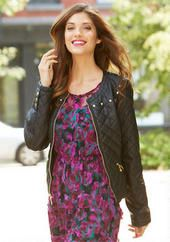 PU Quilted Faux Leather Jacket