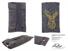ReaPhone 'Deer Outline' by ReaAndrea @ AnnaB - Style 'Sabrina' -  Smartphonehülle modellangepasst - Filz 100% Merinowolle 2 mm grau meliert - verdecktes Kartenfach mit Lasche - Rippsgummiband grau - Stickereien in Gold- & Silbergarn - www.Rea-Andrea.de