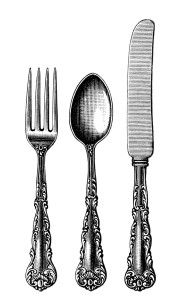 vintage cutlery clipart, black and white clip art, old fashioned spoon fork knife image, antique silverware pattern illustration, kitchen pr...