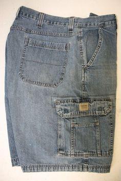 SOLD! Wrangler Hero Denim Cargo Shorts (Mens 34) Zipper Blue Jargo ...