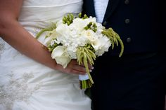 white and green bride bouquet from www.denver-weddings.com