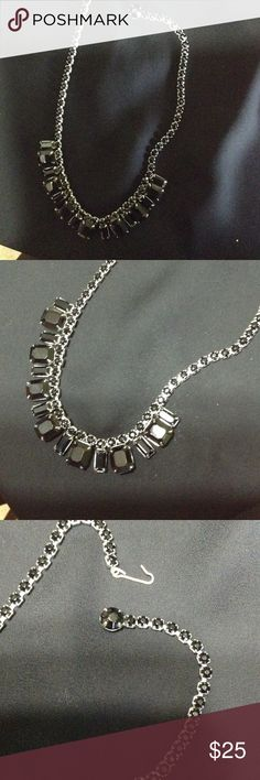 Weiss Vintage Costume Necklace BEAUTIFUL AND PERFECT FOR HOMECOMING!! Weis Design black onyx like stones in silver tone setting. Choker length. Looks amazing on. And amazing in person. A vey well made piece Weiss Jewelry Necklaces