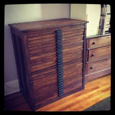 This antique typesetter's cabinet is perfect for my jewelry studio ...
