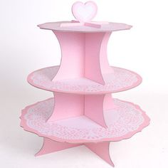Lovely Thick card heart and doily design cupcake stand. Cake stand. Pink. New  Visit our family business...The Ginger Sheep £6.99