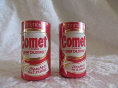 2 Vintage Comet Cleanser #Matches Miniature Container #Comet