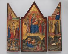 Artist: Matteo di Pacino (documented 1359–1394) Former Attribution: Tommaso del Mazza (Italian, active Florence, late 14th century) Former Attribution: Master of Santa Verdiana Date: ca. 1380–90 Culture: Italian Medium: Tempera on wood, gold ground Dimensions: Central panel 17 1/2 x 8 in. (44.5 x 20.3 cm); left wing 16 7/8 x 4 1/2 in. (42.9 x 11.4 cm); right wing 17 1/8 x 4 5/8 in. (43.5 x 11.7 cm) Classification: Paintings