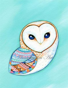 Barn Owl - Teal Mint Aquamarine and Tribal Pattern - Modern Painting Print by Annya Kai on Etsy, € 13,36