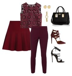 """""""Maroon Is Calling My Name!!!"""" by la-harrell-styling-co on Polyvore featuring Alberta Ferretti, RED Valentino, Dsquared2, Aquazzura, River Island and H&M"""