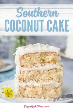 Moist and fluffy toasted coconut layers frosted with super creamy coconut cream cheese frosting! This recipe was inspired by my favorite coconut cake from the Commissary in Memphis, TN! recipes Southern Coconut Cake With Coconut Cream Cheese Frosting Kokos Desserts, Coconut Desserts, Coconut Recipes, Köstliche Desserts, Dessert Recipes, Coconut Milk, Coconut Cheese, Easy Vanilla Cake Recipe, Chocolate Cake Recipe Easy