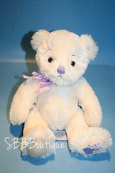 "Russ plush Teddy Bear Anya Cream Lavender Bow Nose Flower Foot stuffed toy 11"""