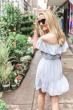 Wearing a Club Monaco dress at the Chelsea Flower Market, NYC