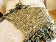 Sun Drenched Bohemian Style: Bedding Hand Knit Blanket Throw Afghan in Earthy Yellow, Grey, Brown and Green by CricketsHome Natural Home, Minimalist Home, Rustic Home