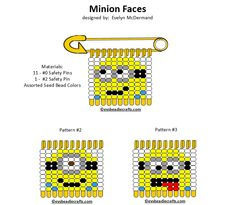 minions.gif (720×628) Safety Pin Art, Safety Pin Crafts, Safety Pin Jewelry, Safety Pins, Bead Jewelry, Pony Bead Patterns, Loom Patterns, Beading Patterns, Beaded Crafts
