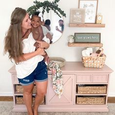 How darling is this family portrait with dad caught in the mirror! We are also loving the painted piece used as a unique changing table. 📸: @katieksturg Baby Nursery Decor, Project Nursery, Nursery Furniture, Painted Furniture, Furniture Ideas, Baby Changing Table, Nursery Shelves, Baby Smiles, Wtf Face
