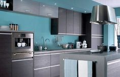 Contemporary Kitchen Cabinets - blue wall grey cabinets