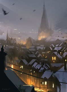 Snowy Rooftops (30min sketch) by daRoz - ❤️ the energy in this 30-min sketch #art #conceptart