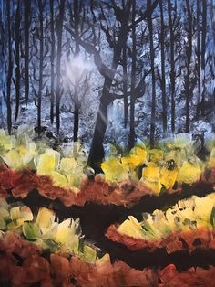 Golden Rays of Sunshine - Bob Ross Replica, Handmade Acrylic Painting on Stretched Canvas Landscape Artwork, Bob Ross, Stretched Canvas, Abstract Art, Sunshine, Hand Painted, Places, Illustration, Shop