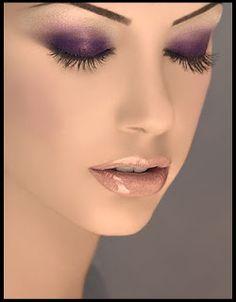 purple eyeshadow, glossy lips
