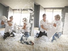 Love this pillow fight, engagement shoot! Bold. Modern. Fabulous.