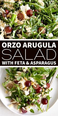 This vibrant and delicious Orzo Arugula Salad is filled with juicy grapes, toasted pine nuts, feta, and asparagus tossed in an easy lemon vinaigrette. Perfect for a light dinner, lunch, or mid-summer potluck. Best Healthy Dinner Recipes, Lunch Recipes, Whole Food Recipes, Healthy Food, Summer Recipes, Healthy Eating, Types Of Salad Dressing, Lemon Vinaigrette, Side Dish Recipes