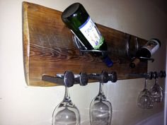Rustic wine rack. horse shoes hold two bottles by DeadWoodRising, $150.00