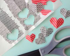 "Cut out for ""embellishments"" Make Heart Stickers with Washi Tape"