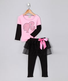 Pink & Black Retro Tee & Skirted Leggings - Toddler & Girls | Daily deals for moms, babies and kids