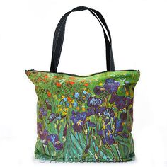 Van Gogh Irises Tote Bag with Zipper Top