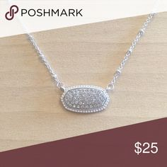 """Oval Silver and clear Crystal Necklace Brand new. 18"""" chain. Same day or never day shipping. No trades and no holds. 20% off bundles. Jewelry Necklaces"""