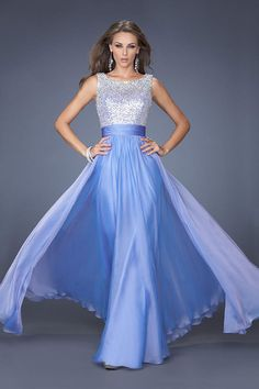 2014 Romantic Floor Length Scoop V Back A Line/Princess Chiffon Prom Dresses Beaded&Ruffled