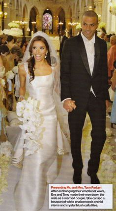 Eva Longoria  a sleek, sexy and stunning wedding dress option. And how perfect is that bouquet? Stunning.