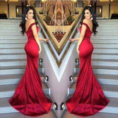 Red Mermaid Off Shoulder Evening Dresses V-Neck Backless Stunning 2017 Prom Gowns