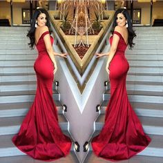 Red Mermaid Off Shoulder Evening Dresses V-Neck Backless Stunning 2017 Prom Gowns