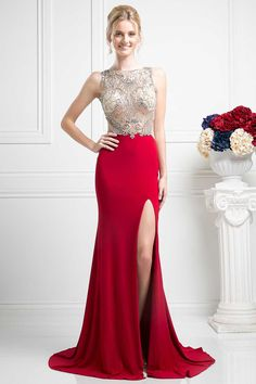 Evening Dress CDCF201. Floor Length Elegant Evening Gown with Beading and Sequins Embellished Illusion Bodice with Halter Neckline and Open Back, Solid Color Long Skirt with Invisible Zipper Back Closure, Sweeping Train and Thigh Length Slit. https://www.smcfashion.com/wholesale-evening-dresses/evening-dress-cdcf201