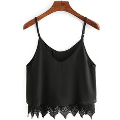 Black Lace Crochet Scalloped Hem Cami Top ($11) ❤ liked on Polyvore featuring tops, black, crochet tank top, crop tank, crochet lace tank top, spaghetti strap tank top and embellished crop top