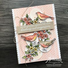 Kindness and Compassion Stamp Set by Stampin' Up! Bird Ballad DSP Card by Stesha Bloodhart, Stampin' Hoot! Tarot, Stampin Pretty, Paper Birds, Stampin Up Catalog, Bird On Branch, Bird Cards, Cool Sketches, Stamping Up, Stampin Up Cards