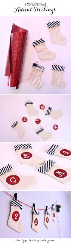 DIY Monogram Advent Stockings | Kim Byers